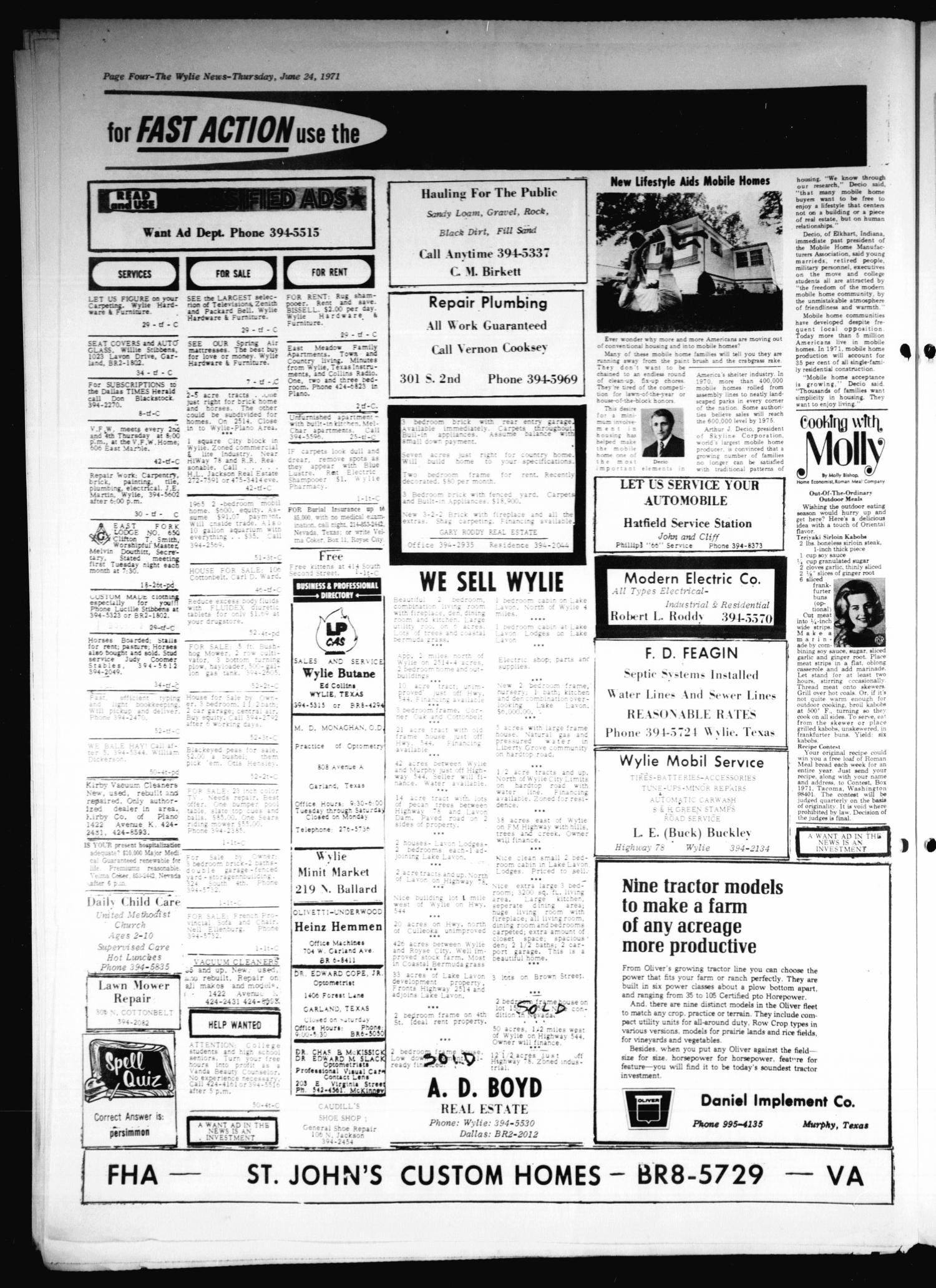 The Wylie News (Wylie, Tex.), Vol. 24, No. 1, Ed. 1 Thursday, June 24, 1971                                                                                                      [Sequence #]: 4 of 8