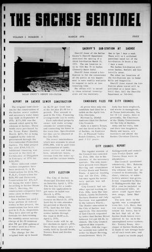 Primary view of object titled 'The Sachse Sentinel (Sachse, Tex.), Vol. 1, No. 3, Ed. 1 Monday, March 1, 1976'.