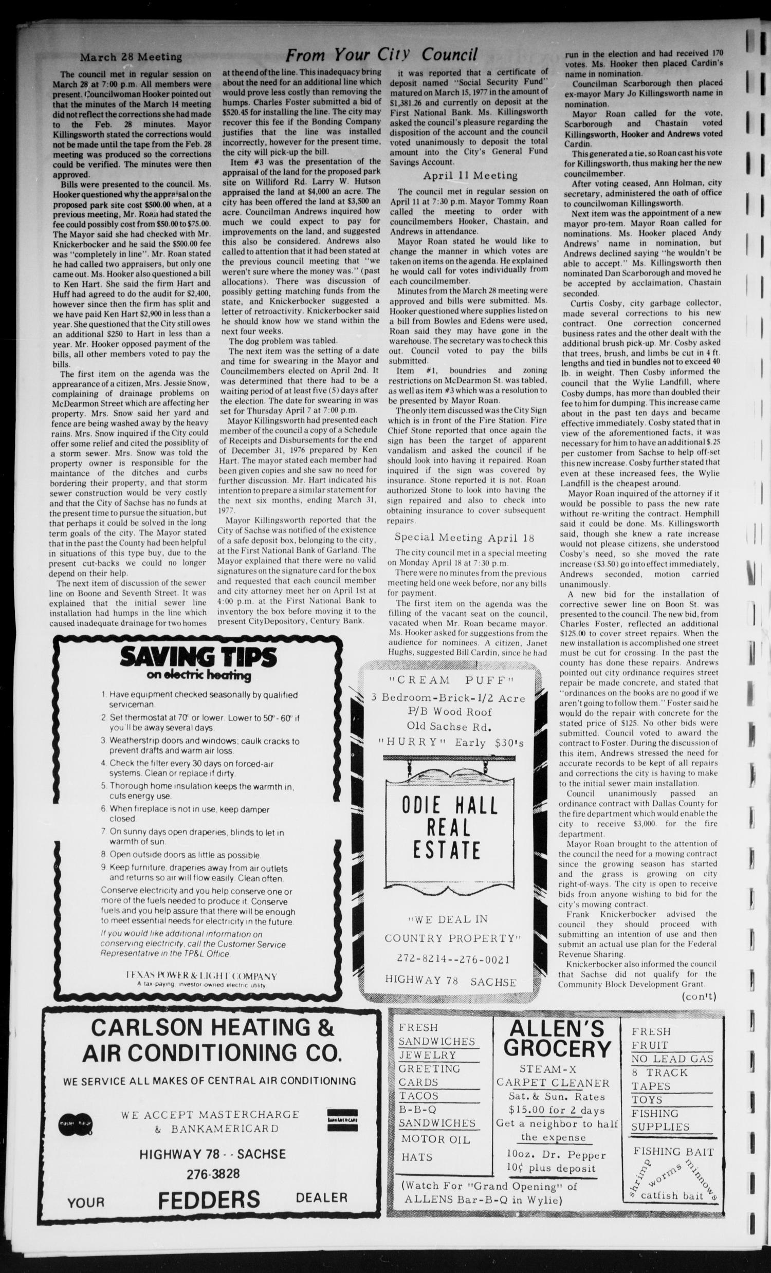 The Sachse Sentinel (Sachse, Tex.), Vol. 2, No. 5, Ed. 1 Sunday, May 1, 1977                                                                                                      [Sequence #]: 4 of 6