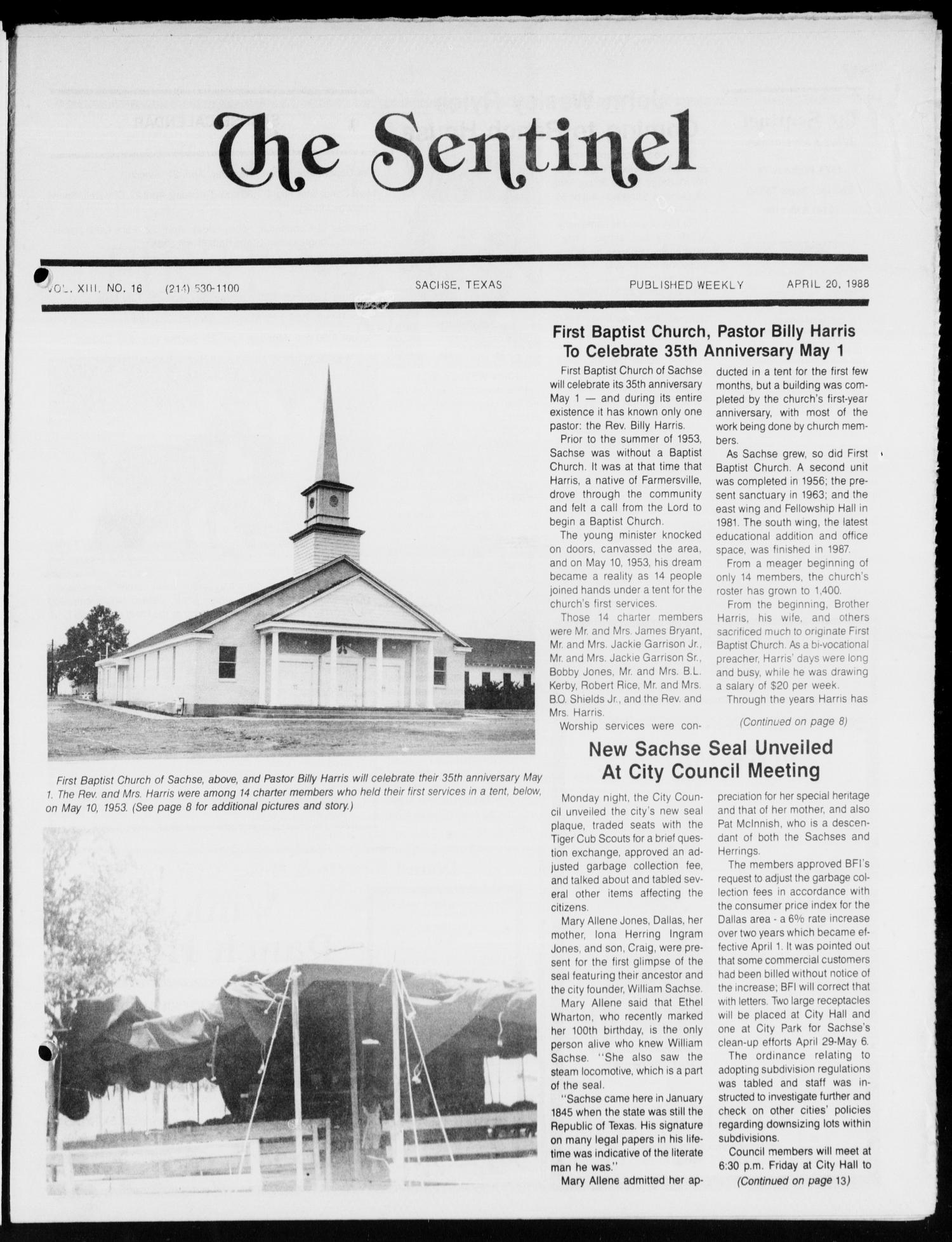 The Sentinel (Sachse, Tex.), Vol. 13, No. 16, Ed. 1 Wednesday, April 20, 1988                                                                                                      [Sequence #]: 1 of 16