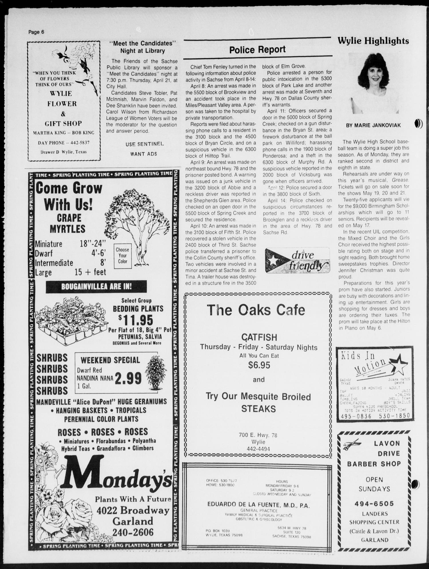 The Sentinel (Sachse, Tex.), Vol. 13, No. 16, Ed. 1 Wednesday, April 20, 1988                                                                                                      [Sequence #]: 6 of 16