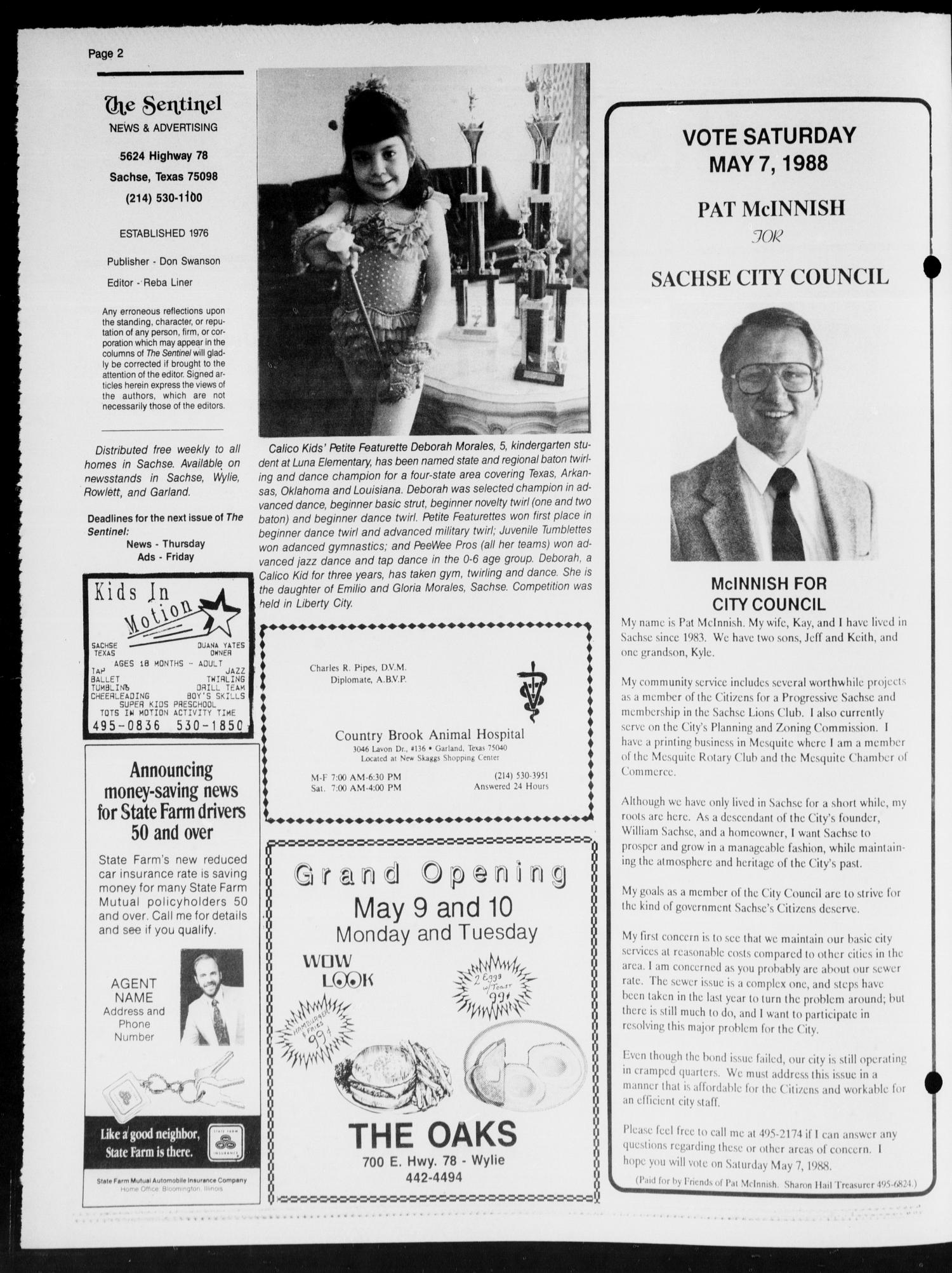 The Sentinel (Sachse, Tex.), Vol. 13, No. 18, Ed. 1 Wednesday, May 4, 1988                                                                                                      [Sequence #]: 2 of 20