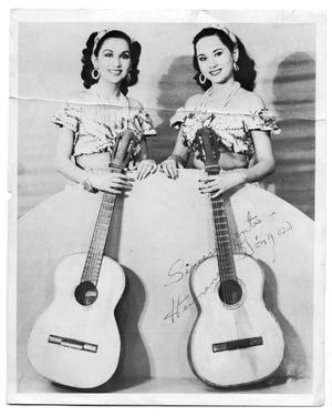 Autographed portrait of two musician sisters