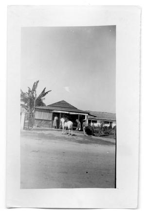 Primary view of object titled 'Horse and people outside restaurant hut'.