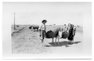 Primary view of object titled 'Two women stand next to a man and his mule'.