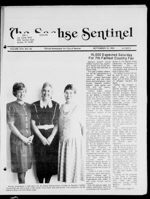 Primary view of object titled 'The Sachse Sentinel (Sachse, Tex.), Vol. 17, No. 38, Ed. 1 Tuesday, September 15, 1992'.