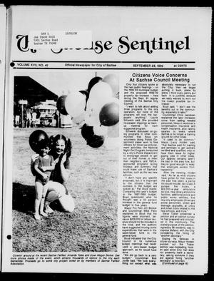 Primary view of object titled 'The Sachse Sentinel (Sachse, Tex.), Vol. 17, No. 40, Ed. 1 Tuesday, September 29, 1992'.