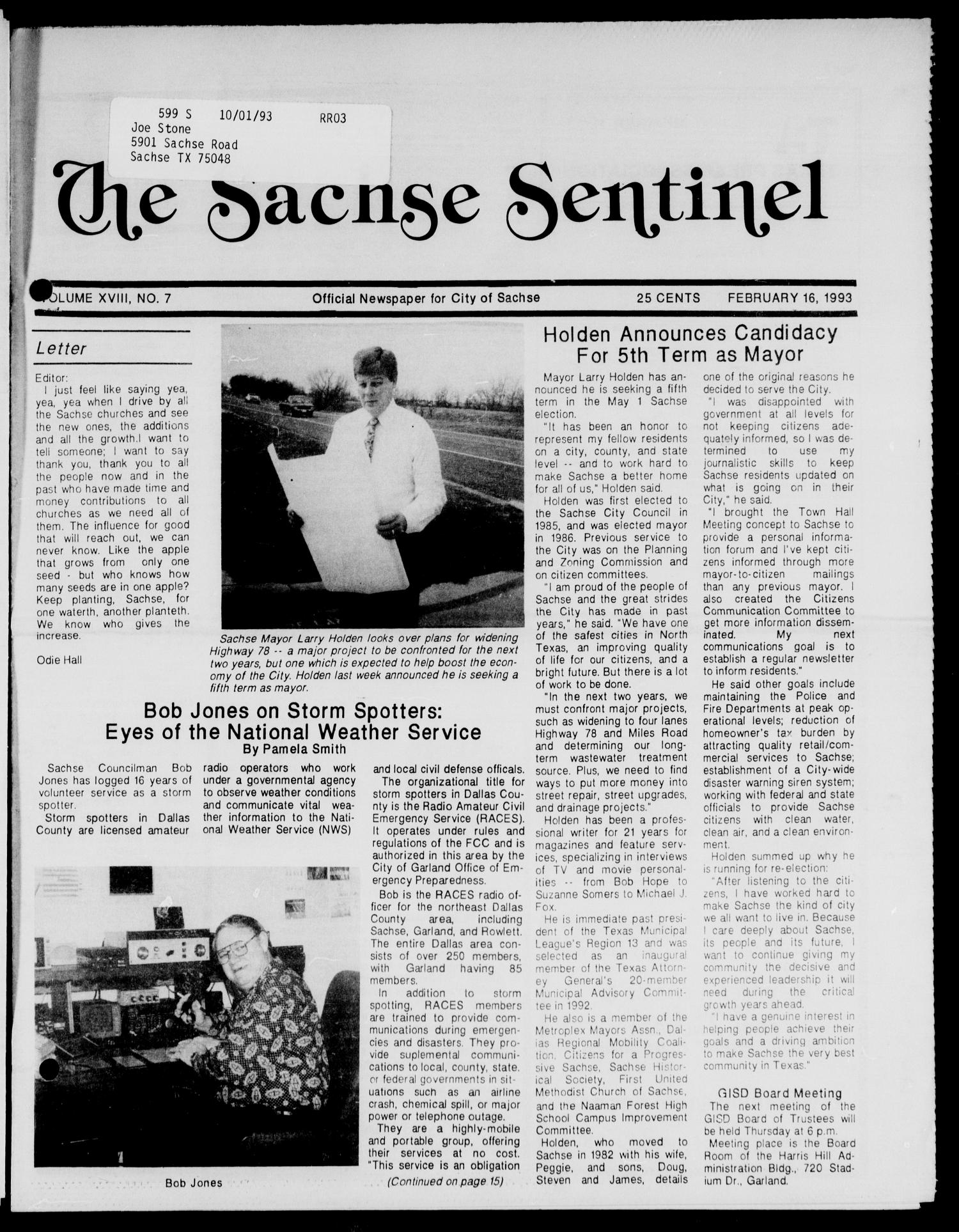 The Sachse Sentinel (Sachse, Tex.), Vol. 18, No. 7, Ed. 1 Tuesday, February 16, 1993                                                                                                      [Sequence #]: 1 of 16