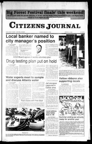 Primary view of object titled 'Citizens Journal (Atlanta, Tex.), Ed. 1 Sunday, August 26, 1990'.