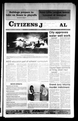 Primary view of object titled 'Citizens Journal (Atlanta, Tex.), Vol. 113, No. 48, Ed. 1 Wednesday, November 20, 1991'.