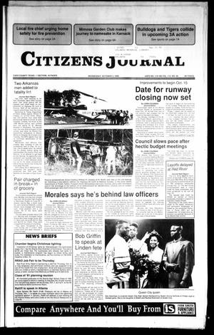 Primary view of object titled 'Citizens Journal (Atlanta, Tex.), Vol. 112, No. 39, Ed. 1 Wednesday, October 3, 1990'.