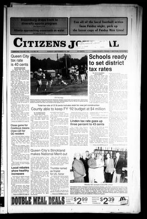 Primary view of object titled 'Citizens Journal (Atlanta, Tex.), Vol. 113, No. 30, Ed. 1 Sunday, September 15, 1991'.