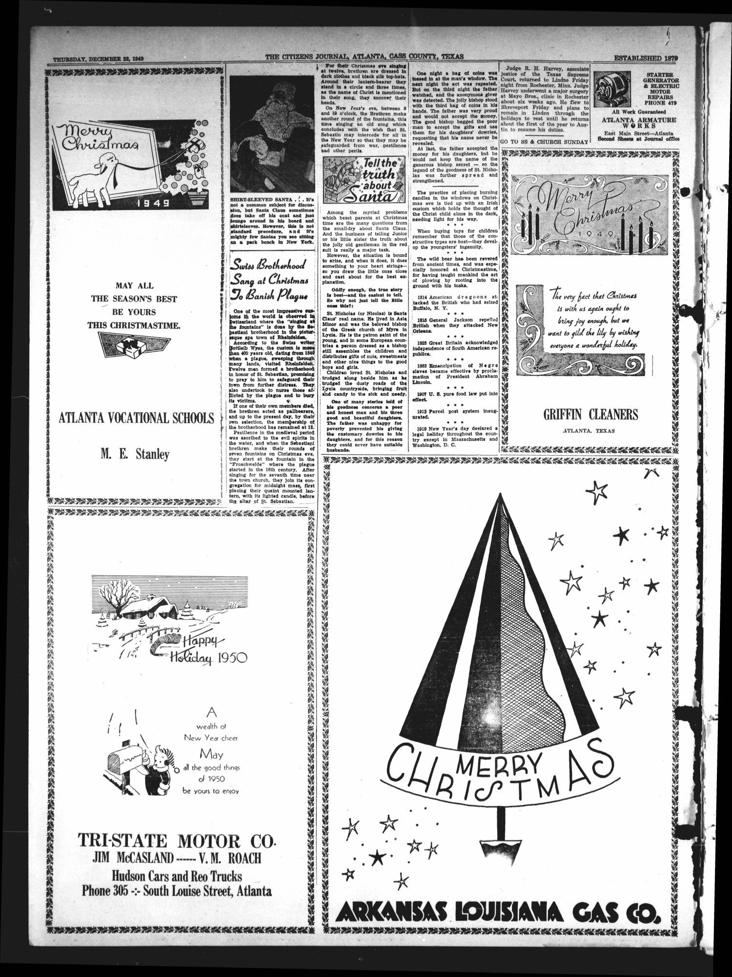 The Citizens Journal (Atlanta, Tex.), Vol. 70, No. 51, Ed. 1 Thursday, December 22, 1949                                                                                                      [Sequence #]: 4 of 32