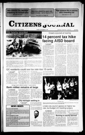 Primary view of object titled 'Citizens Journal (Atlanta, Tex.), Vol. 112, No. 32, Ed. 1 Sunday, September 9, 1990'.