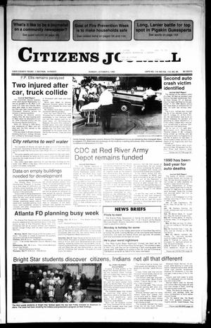 Primary view of object titled 'Citizens Journal (Atlanta, Tex.), Vol. 112, No. 40, Ed. 1 Saturday, October 6, 1990'.