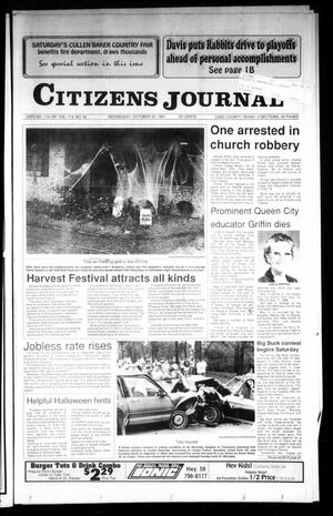 Primary view of object titled 'Citizens Journal (Atlanta, Tex.), Vol. 113, No. 42, Ed. 1 Wednesday, October 30, 1991'.