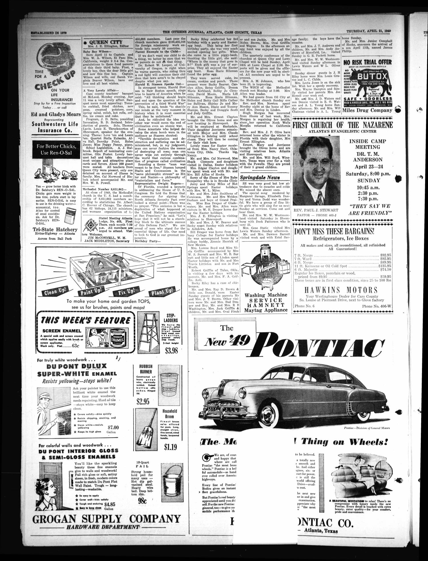 The Citizens Journal (Atlanta, Tex.), Vol. 70, No. 16, Ed. 1 Thursday, April 21, 1949                                                                                                      [Sequence #]: 2 of 16