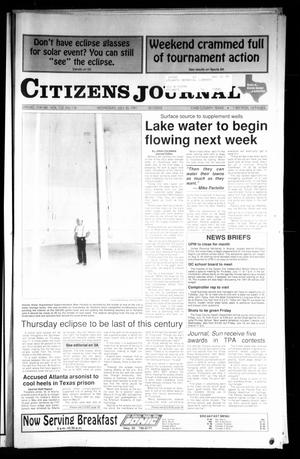 Primary view of object titled 'Citizens Journal (Atlanta, Tex.), Vol. 112, No. 116, Ed. 1 Wednesday, July 10, 1991'.