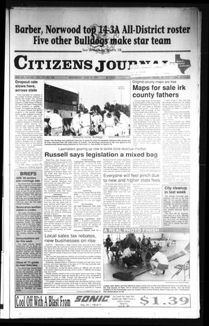 Primary view of object titled 'Citizens Journal (Atlanta, Tex.), Vol. 112, No. 108, Ed. 1 Wednesday, June 12, 1991'.