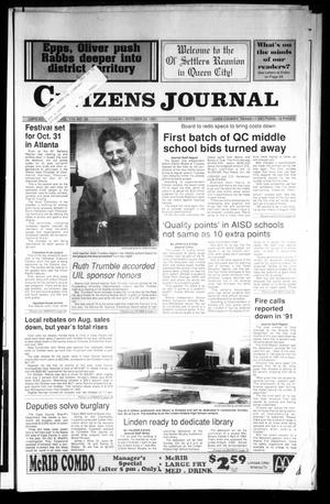 Primary view of object titled 'Citizens Journal (Atlanta, Tex.), Vol. 113, No. 39, Ed. 1 Sunday, October 20, 1991'.