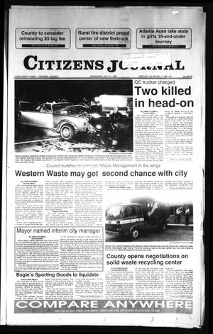 Primary view of object titled 'Citizens Journal (Atlanta, Tex.), Vol. 111, No. 119, Ed. 1 Wednesday, July 11, 1990'.