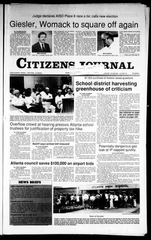 Primary view of object titled 'Citizens Journal (Atlanta, Tex.), Vol. 112, No. 34, Ed. 1 Sunday, September 16, 1990'.