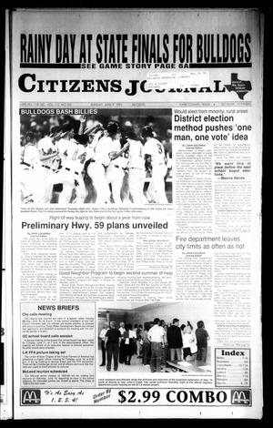 Primary view of object titled 'Citizens Journal (Atlanta, Tex.), Vol. 112, No. 107, Ed. 1 Sunday, June 9, 1991'.