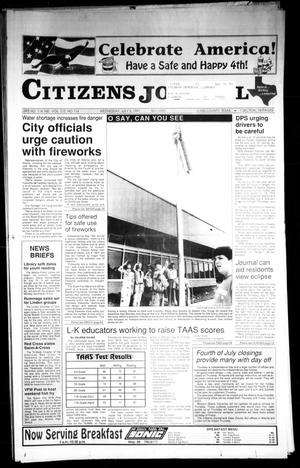 Primary view of object titled 'Citizens Journal (Atlanta, Tex.), Vol. 112, No. 114, Ed. 1 Wednesday, July 3, 1991'.