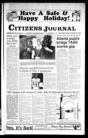 Primary view of object titled 'Citizens Journal (Atlanta, Tex.), Vol. 113, No. 58, Ed. 1 Wednesday, December 25, 1991'.