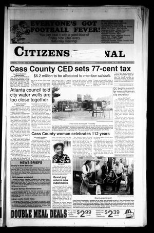 Primary view of object titled 'Citizens Journal (Atlanta, Tex.), Vol. 113, No. 28, Ed. 1 Sunday, September 8, 1991'.