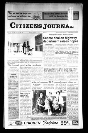 Primary view of object titled 'Citizens Journal (Atlanta, Tex.), Vol. 113, No. 19, Ed. 1 Sunday, August 4, 1991'.