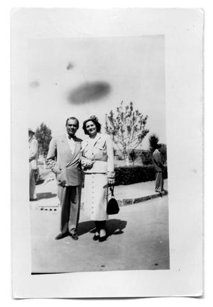 Primary view of object titled 'Couple standing near a sidewalk'.