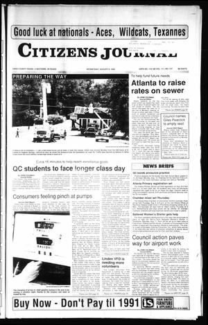 Primary view of object titled 'Citizens Journal (Atlanta, Tex.), Vol. 111, No. 127, Ed. 1 Wednesday, August 8, 1990'.