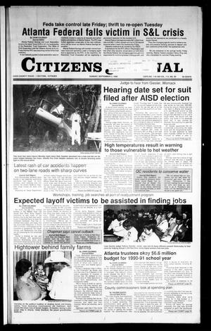 Primary view of object titled 'Citizens Journal (Atlanta, Tex.), Vol. 112, No. 30, Ed. 1 Sunday, September 2, 1990'.