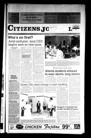 Primary view of object titled 'Citizens Journal (Atlanta, Tex.), Vol. 113, No. 23, Ed. 1 Sunday, August 18, 1991'.