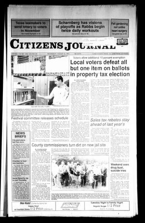 Primary view of object titled 'Citizens Journal (Atlanta, Tex.), Vol. 113, No. 22, Ed. 1 Wednesday, August 14, 1991'.