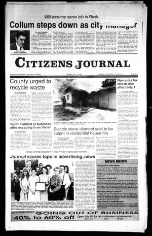 Primary view of object titled 'Citizens Journal (Atlanta, Tex.), Vol. 111, No. 116, Ed. 1 Sunday, July 1, 1990'.