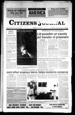 Primary view of object titled 'Citizens Journal (Atlanta, Tex.), Vol. 111, No. 117, Ed. 1 Wednesday, July 4, 1990'.