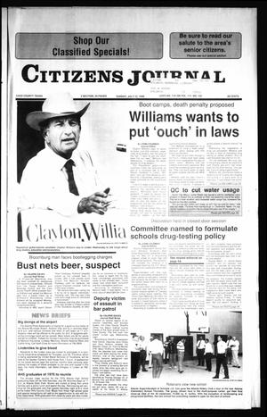 Primary view of object titled 'Citizens Journal (Atlanta, Tex.), Vol. 111, No. 122, Ed. 1 Sunday, July 22, 1990'.