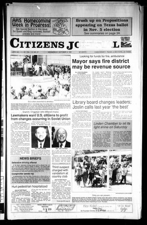 Primary view of object titled 'Citizens Journal (Atlanta, Tex.), Vol. 113, No. 37, Ed. 1 Wednesday, October 9, 1991'.