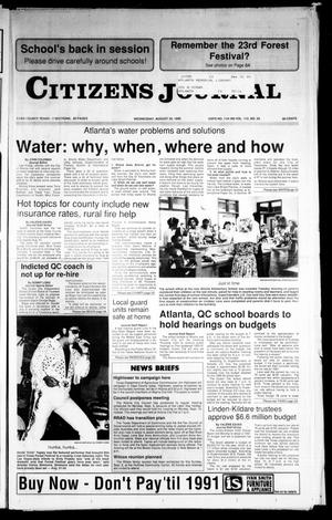 Primary view of object titled 'Citizens Journal (Atlanta, Tex.), Vol. 112, No. 29, Ed. 1 Wednesday, August 29, 1990'.