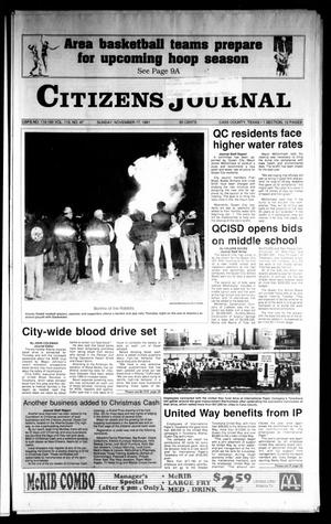 Primary view of object titled 'Citizens Journal (Atlanta, Tex.), Vol. 113, No. 47, Ed. 1 Sunday, November 17, 1991'.