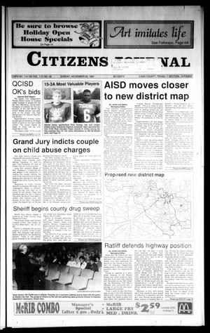 Primary view of object titled 'Citizens Journal (Atlanta, Tex.), Vol. 113, No. 49, Ed. 1 Sunday, November 24, 1991'.