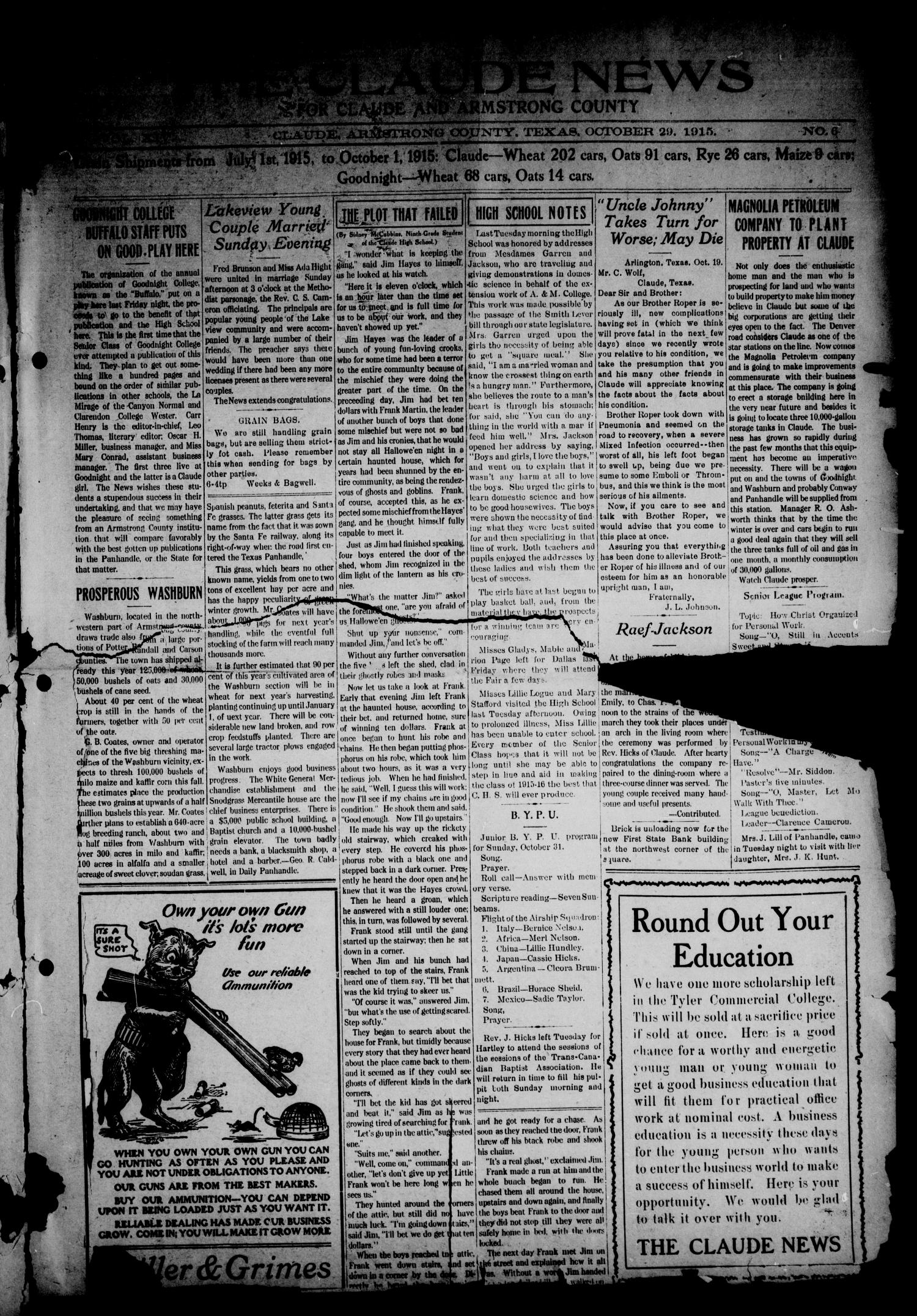 The Claude News (Claude, Tex.), Vol. 14, No. 6, Ed. 1 Friday, October 29, 1915                                                                                                      [Sequence #]: 1 of 8
