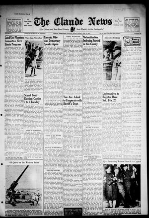 Primary view of object titled 'Claude News (Claude, Tex.), Vol. 52, No. 26, Ed. 1 Friday, February 21, 1941'.