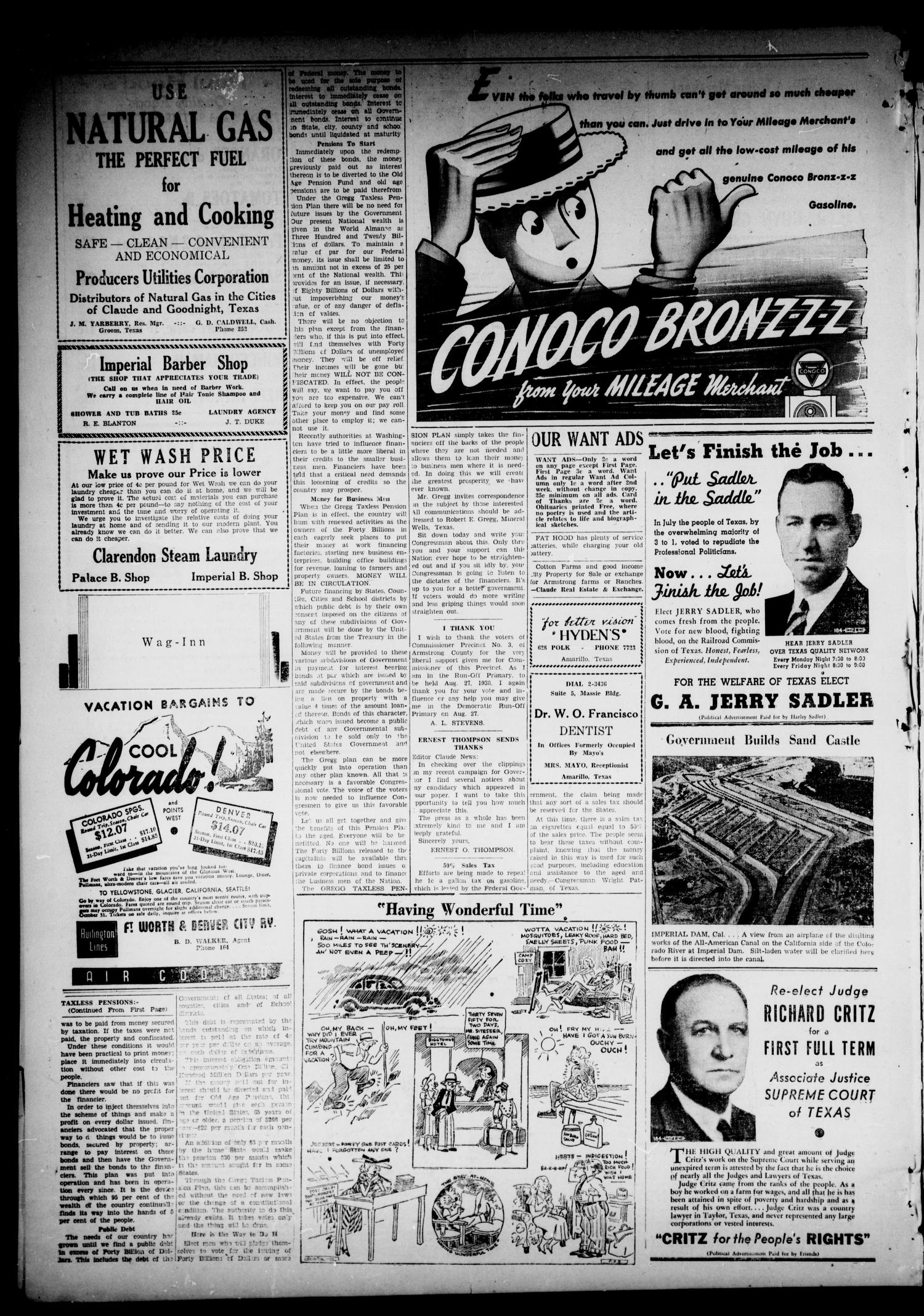 The Claude News (Claude, Tex.), Vol. 49, No. 50, Ed. 1 Friday, August 12, 1938                                                                                                      [Sequence #]: 4 of 4