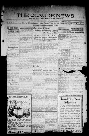 The Claude News (Claude, Tex.), Vol. 14, No. 7, Ed. 1 Friday, November 5, 1915