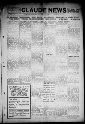 Primary view of object titled 'The Claude News (Claude, Tex.), Vol. 14, No. 48, Ed. 1 Friday, August 18, 1916'.