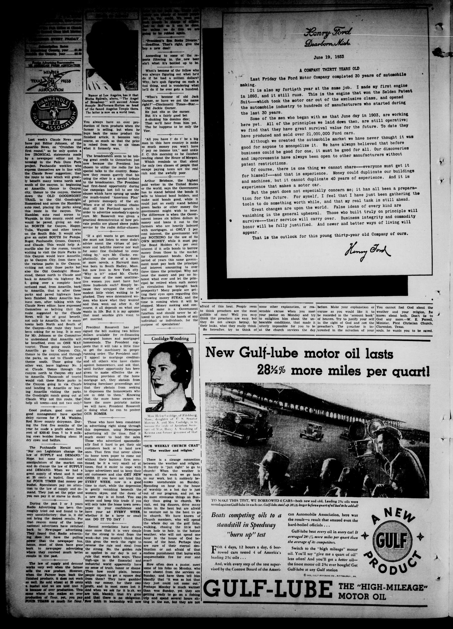 Claude News (Claude, Tex.), Vol. 44, No. 42, Ed. 1 Friday, June 23, 1933                                                                                                      [Sequence #]: 2 of 4