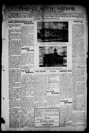 Primary view of object titled 'The Claude News (Claude, Tex.), Vol. 14, No. 14, Ed. 1 Wednesday, December 22, 1915'.